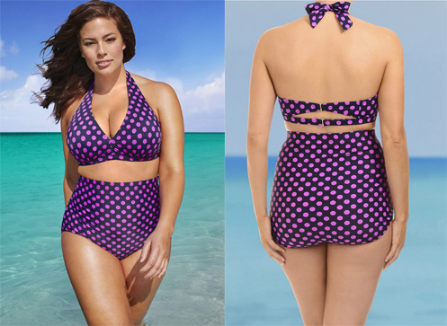 front and back of a plus size model wearing a high-waist bikini, which is purple with pink polka dots