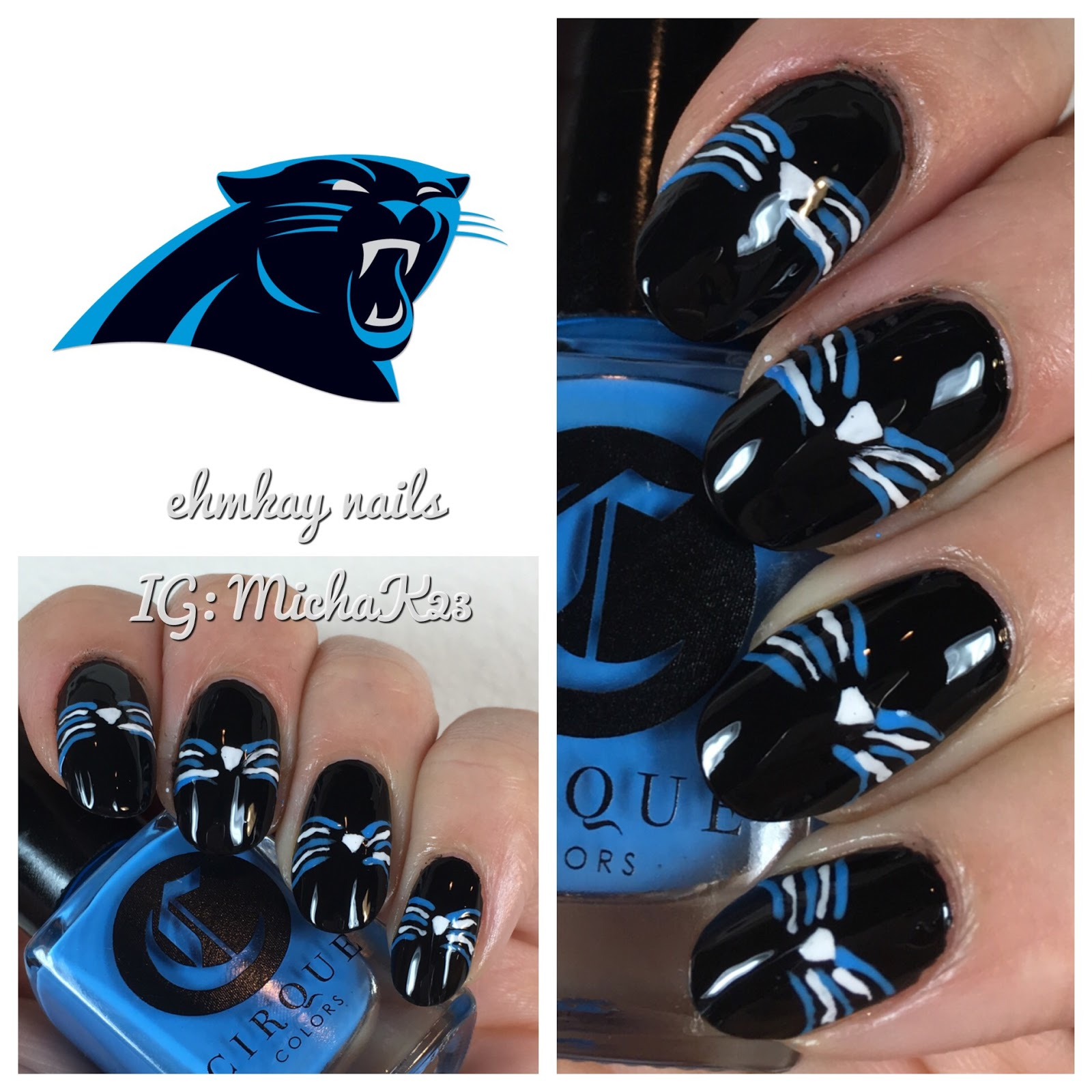 Super Bowl Nail Art Carolina Panthers