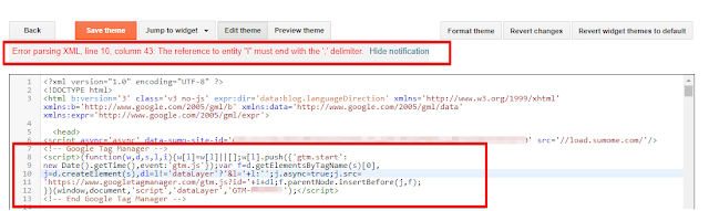 Google Tag Manager Code installation Error in Blogger