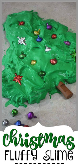 Christmas Fluffy Slime  - This easy slime recipe is so amazing! It is fun to play with, fluffy and is made with contact solution and shaving cream. This is one of the best Christmas activities for kids, family, and preschool.