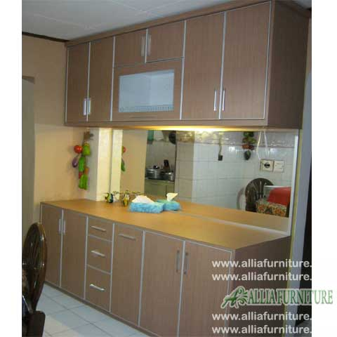kitchen set minimalis single line pine