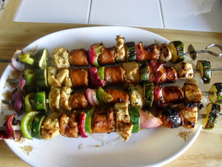 Kabobs: chicken, sausage, zucchini, onions, bell peppers