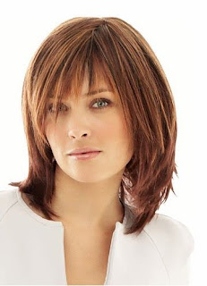 medium length bangs hairstyle