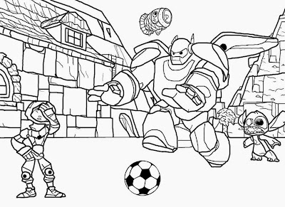 Family football magazine Disney printables cartoon Big Hero 6 coloring pages for teenagers drawing