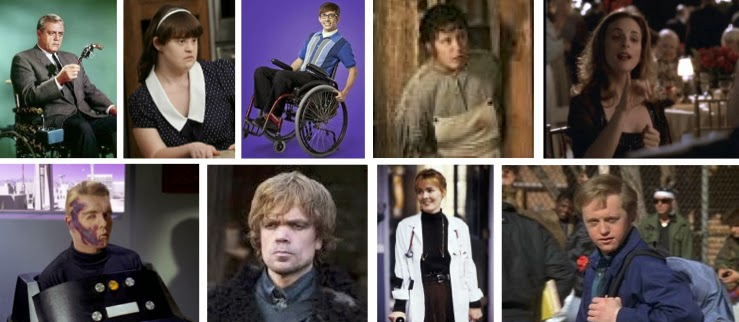 Photos of disabled TV characters: Robert Ironside, Addie Langdon, Artie Abrams, Jewel, Joey Lucas, Capt. Pike, Tyrion Lannister, Dr. Kerry Weaver, Corky Sherwood