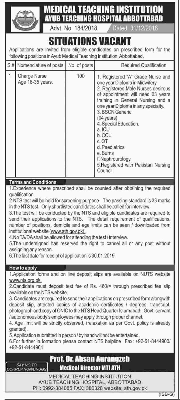 nts charge nurse jobs 2019 newpakjobs