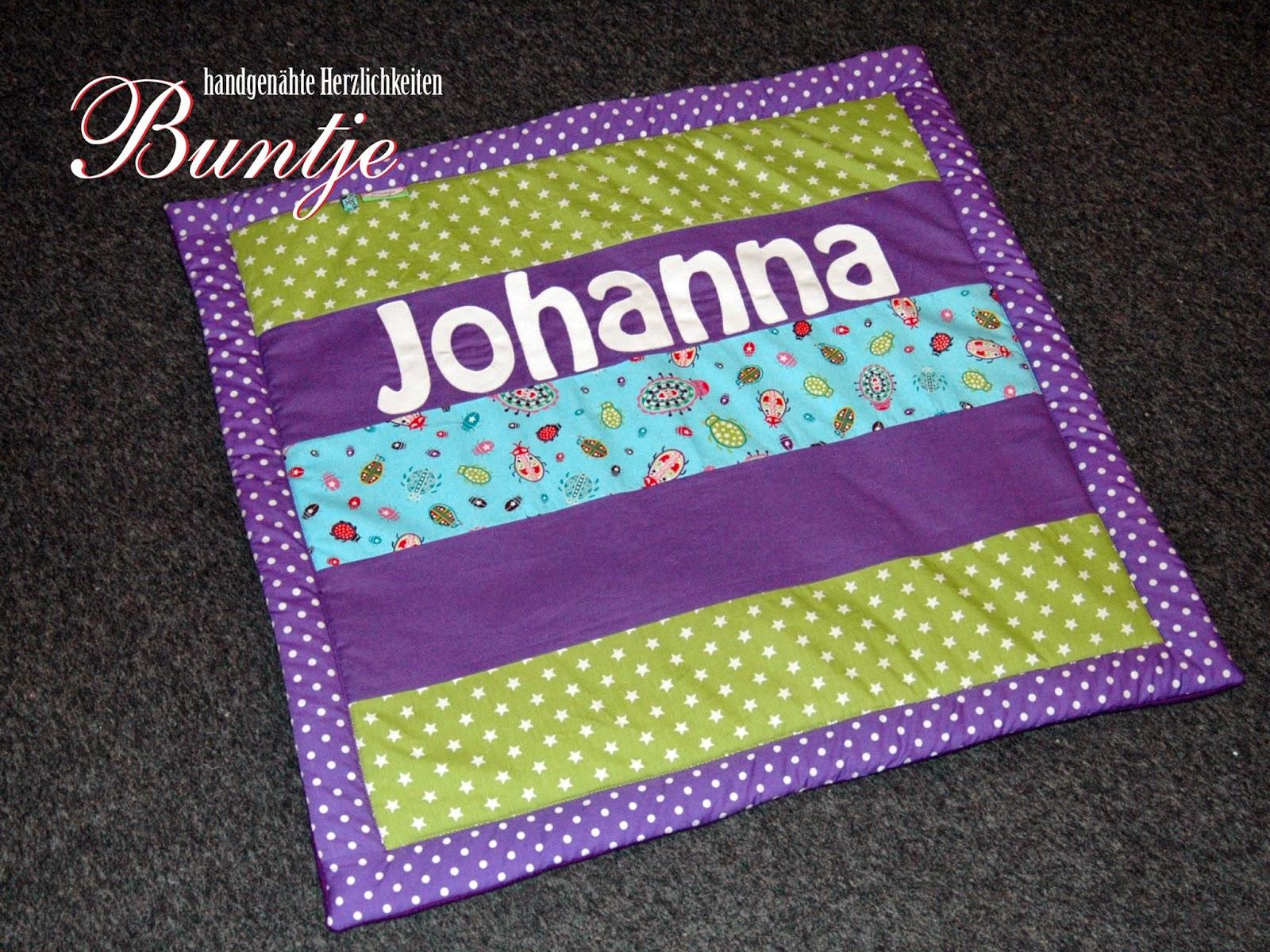 Krabbeldecke Kuscheldecke Decke Baby Name Geschenk Geburt Taufe Mädchen Johanna lila grün türkis Käfer Fleece Baumwolle Buntje nähen