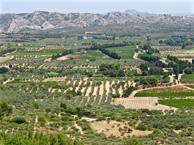 View of fields from Les Baux de Provence