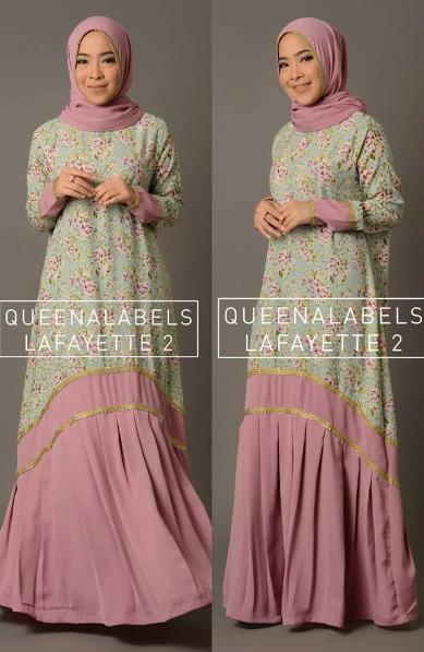 Contoh Model Baju Muslim Terbaru Motif Floral Cantik Update