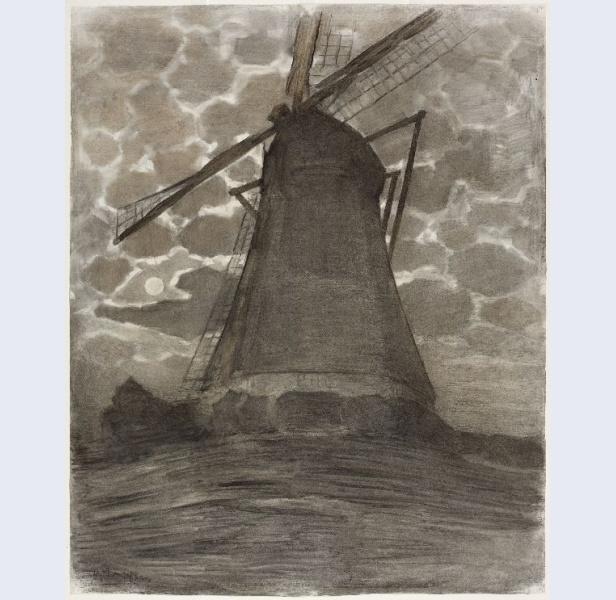 Piet Mondrian | Moinho de vento à noite (1917) | Crédito: Gemeentemuseum, Den Haag, Holanda