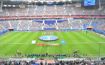 Before the opening match of the 2017 Confederations Cup.