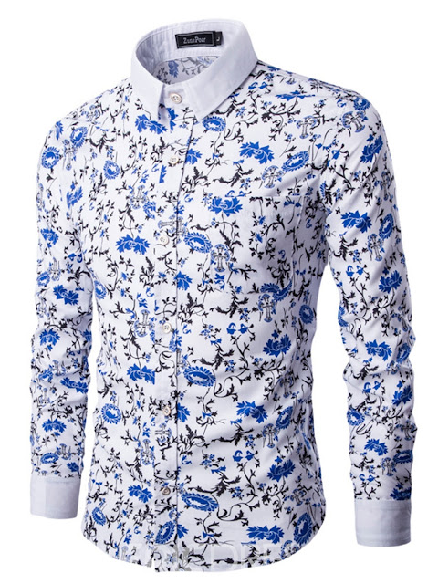 Lapel Color Block Print Men's Shirt