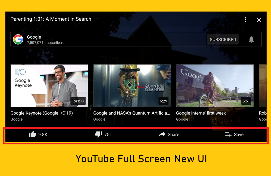 YouTube is improving its full-screen user-interface with quick access to recommended videos and channel actions