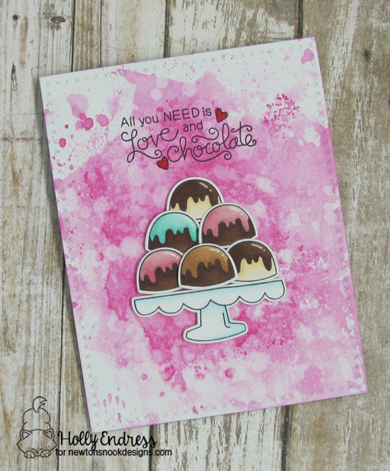 Chocolates on treat Stand   Card by Holly Endress   Love & Chocolate stamp set by Newton's Nook Designs #newtonsnook
