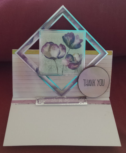 "Thank you Floral shimmer 6"" square easel card"
