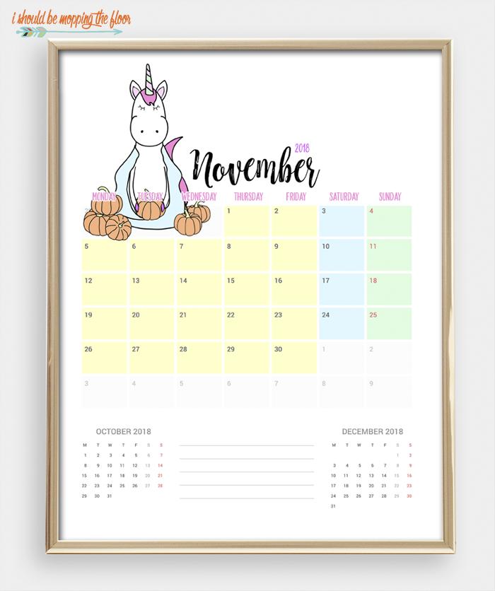2018 Printable Unicorn Calendar   12 months of MAGICAL UNICORN love ready to print and enjoy. Bonus Unicorn Weekly Planner Printable, too!