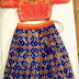 Blue and Orange Ikkat Crop Top