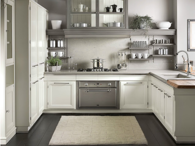 white and grey timeless kitchen cabinets