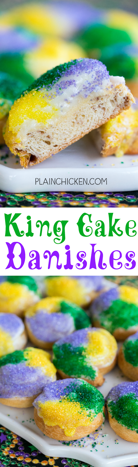 King Cake Danishes - only 5 ingredients! These things are SOOOO good!!! Perfect for Mardi Gras! Crescent rolls, cinnamon, cream cheese, powdered sugar and milk. Can make ahead of time and reheat for Fat Tuesday breakfast!