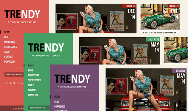 Trendy Responsive Blogger Template unlimited colors