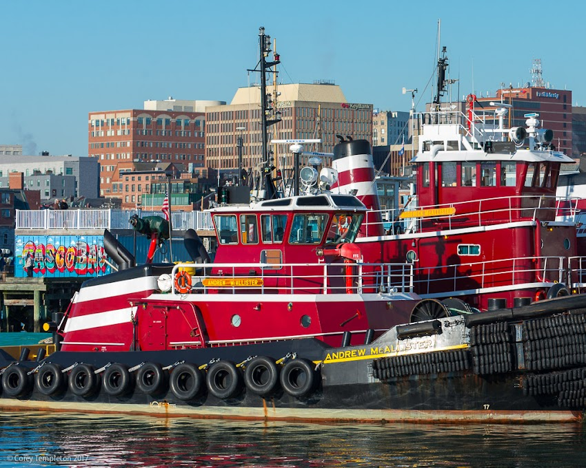 Portland, Maine USA October 2017 photo by Corey Templeton. Tugboats Andrew & Roderick McAllister docked at the end of the Maine State Pier.
