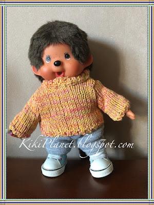 kiki monchhichi tricot vêtement handmade fait main knit poupée