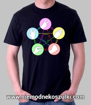 Koszulka Kamień nożyczki papier jaszczurka Spock teoria wielkiego podrywu