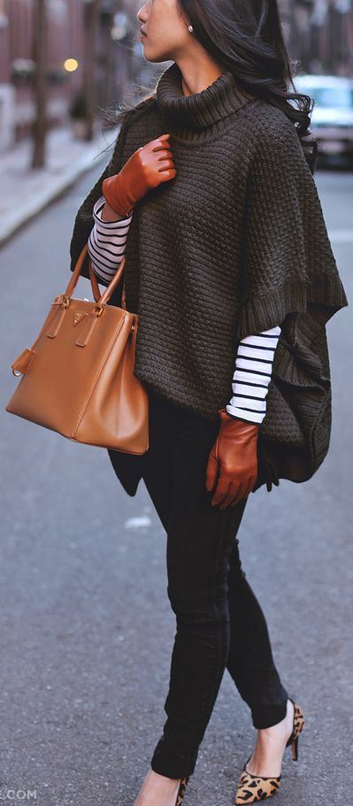 Casual Fashion Trends_ stripped top + bag + knit poncho + skinnies + heels