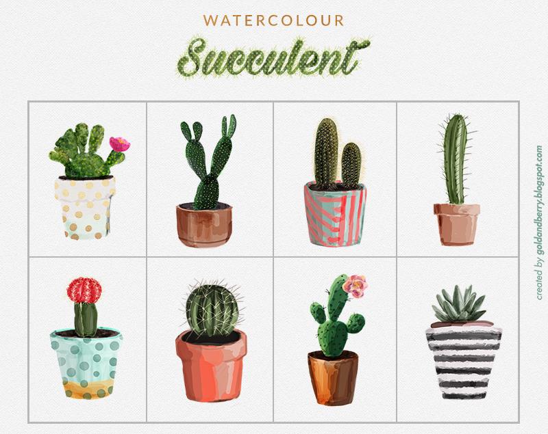 FREEBIES Watercolor Succulents cactus clip art collection 8