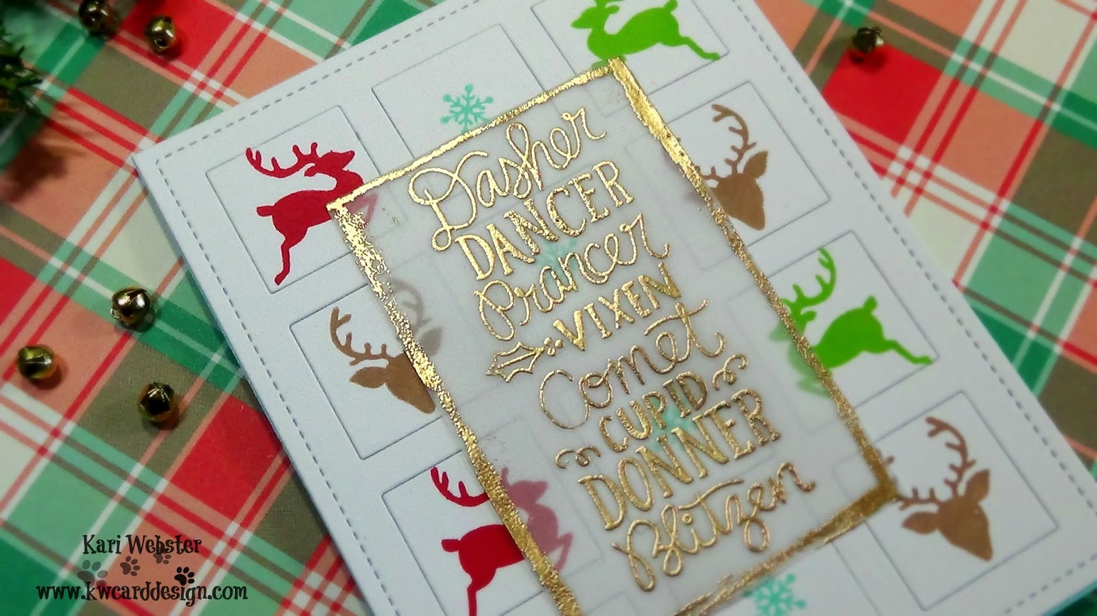 i started out by die cutting a piece of white card stock with the mama elephant grid die this is one of my favorites recently then i stamped all three - Holiday Cards 2017
