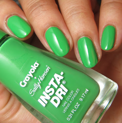 swatches and review of Sally Hansen + Crayola Granny Smith Apple nail polish