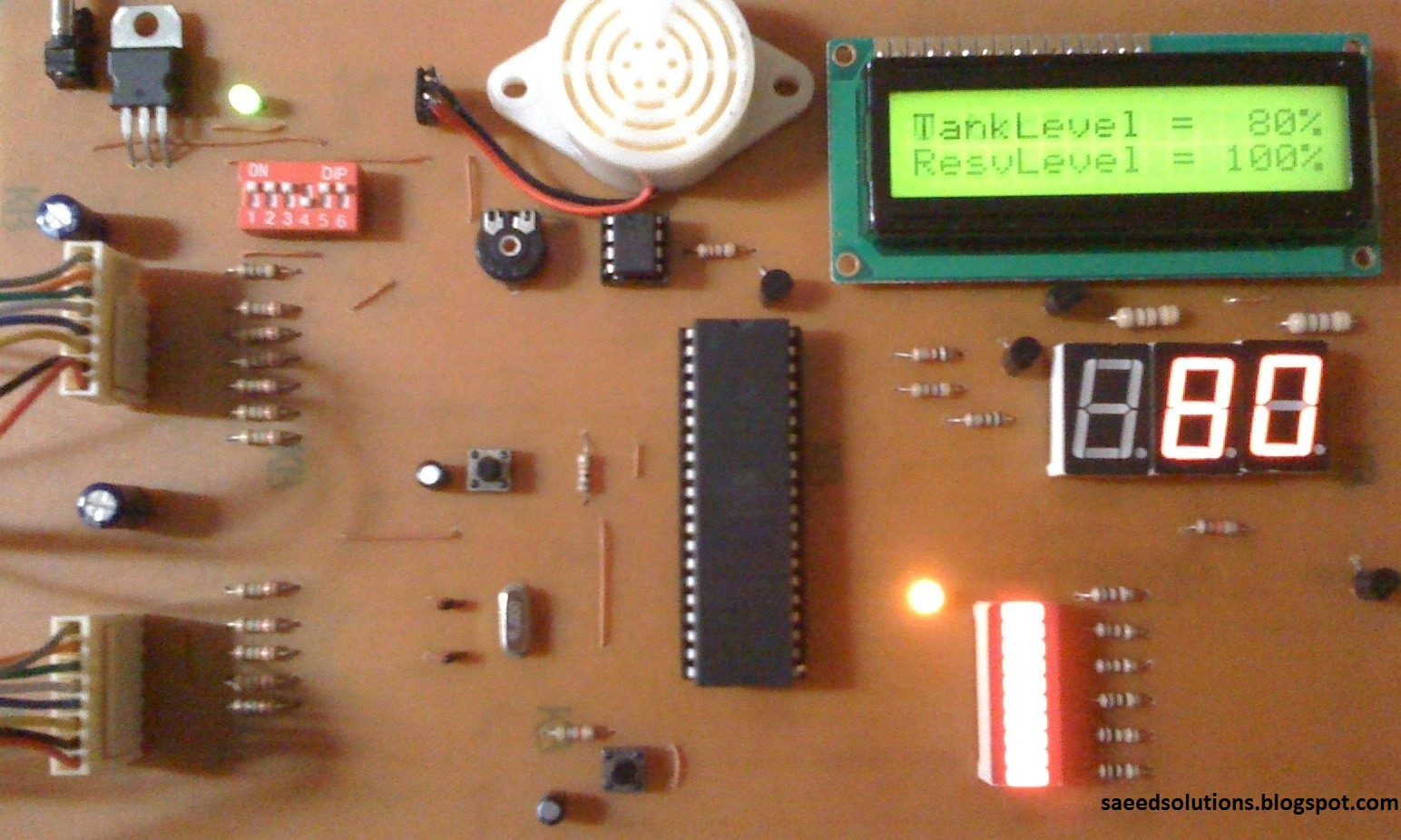 Water level indicator using atmega16 microcontroller electronicbeans final working circuit for water level indicator pooptronica Gallery