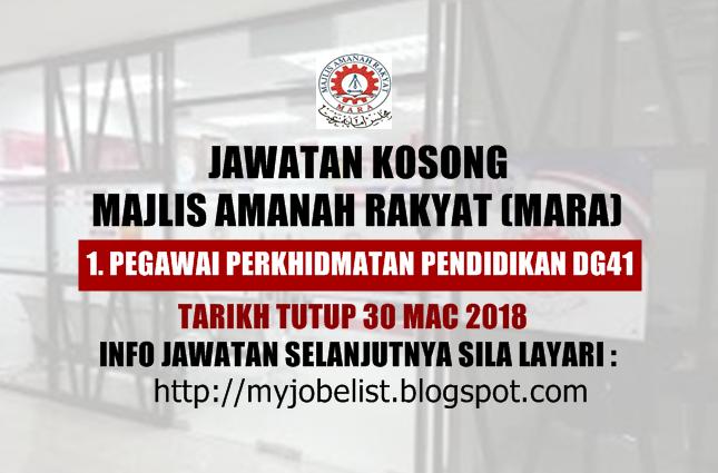 Jawatan Kosong Majlis Amanah Rakyat (MARA) 2018