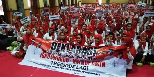 Emak-emak Rampak Sarinah Tulungagung Deklarasi Dukung Jokowi-Ma'ruf