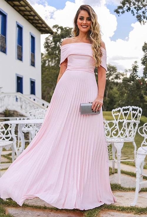 vestido de festa longo rosa plissado