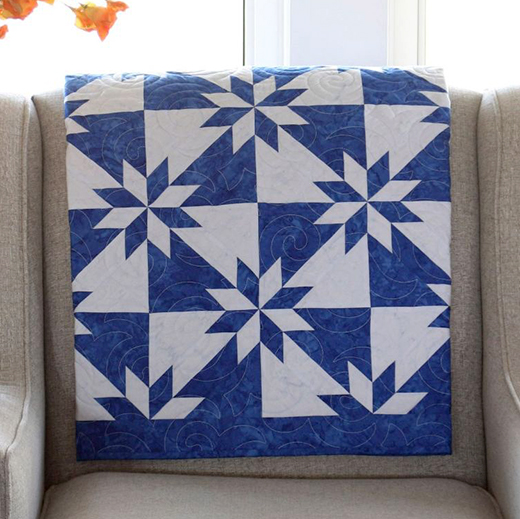 Blue Hunter Star Quilt Free Pattern