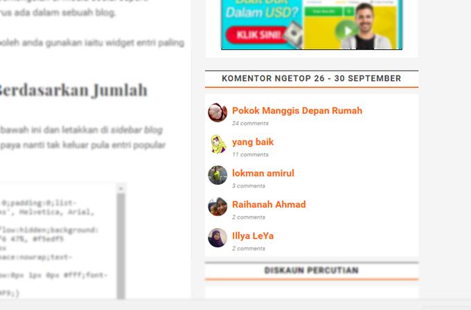 Widget Top Komentator Untuk Blogspot