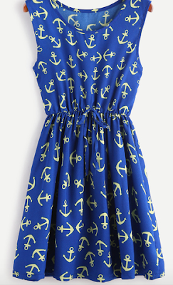 Dark-Blue-Anchor-Print-Drawstring-Waist-Dress