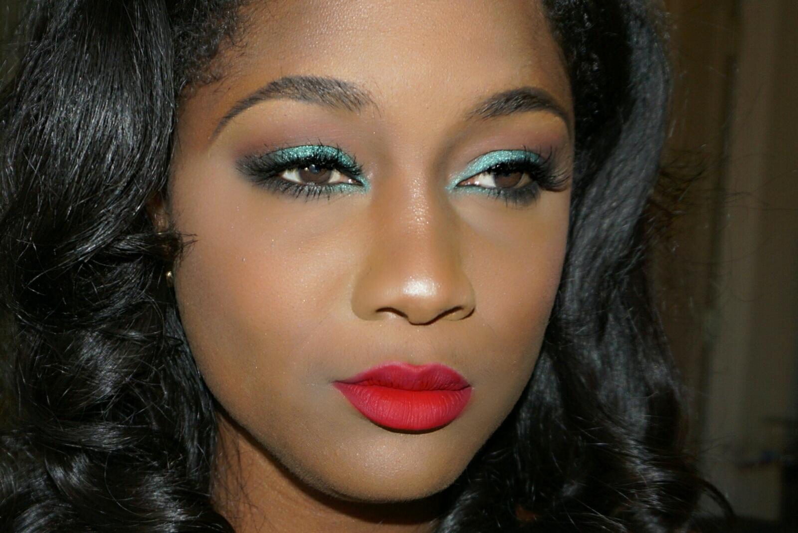 red Liquid lipstick on dark skim