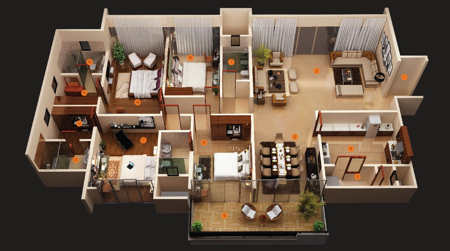 Modern 4 bedroom house plans decor units for Four bedroom design
