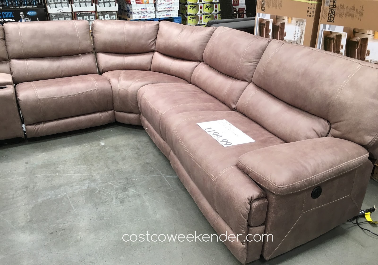 costco fabric reclining sofa tables made in the usa power sectional weekender