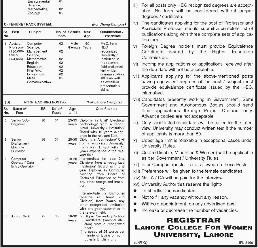 Advertisement for Lahore College for Women University Jobs
