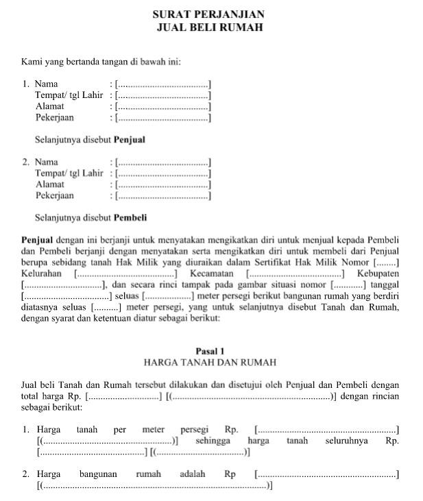download contoh surat perjanjian jual beli rumah format file word idnoffice