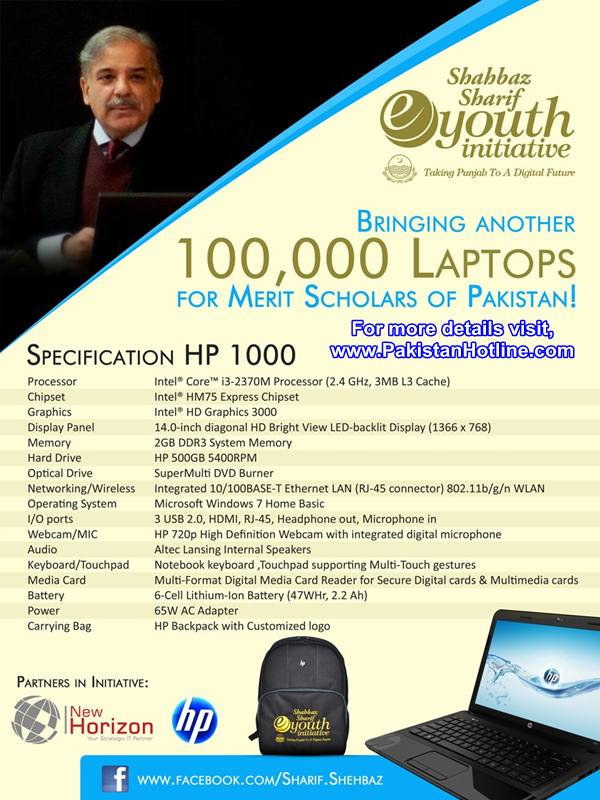 Specifications of HP 1000 (Free Laptops by Punjab Government)