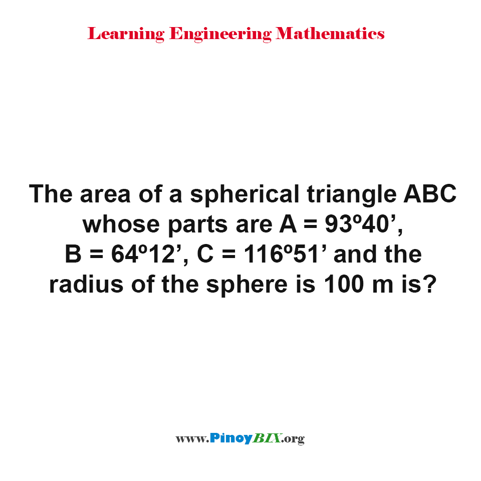 What is the area of a spherical triangle ABC?