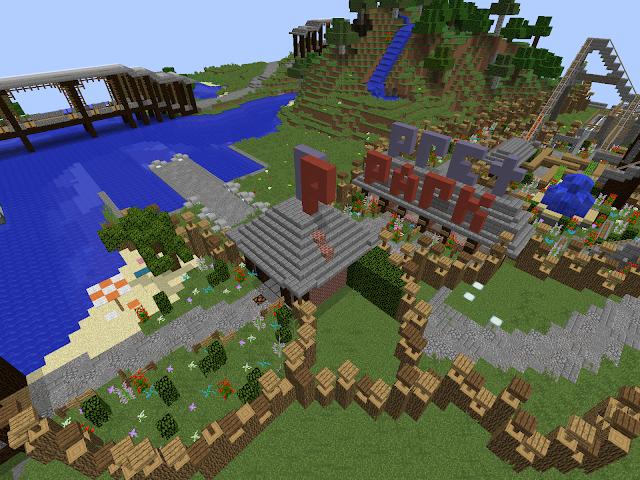Pretpark in het videospel Minecraft