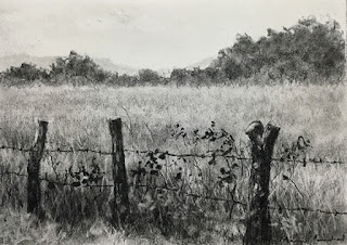 The fence, A Charcoal drawing of a landscape from Coorg ( Karnataka ) using willow charcoal