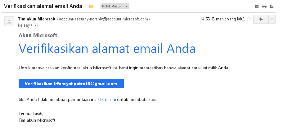 Kotak Masuk dari Tim Akun Microsoft