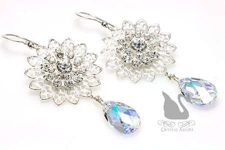 Swarovski Filigree Snowflake Crystal Drop Earrings (E269)