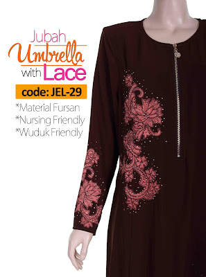 Jubah Umbrella Lace JEL-29 Brown Depan 8